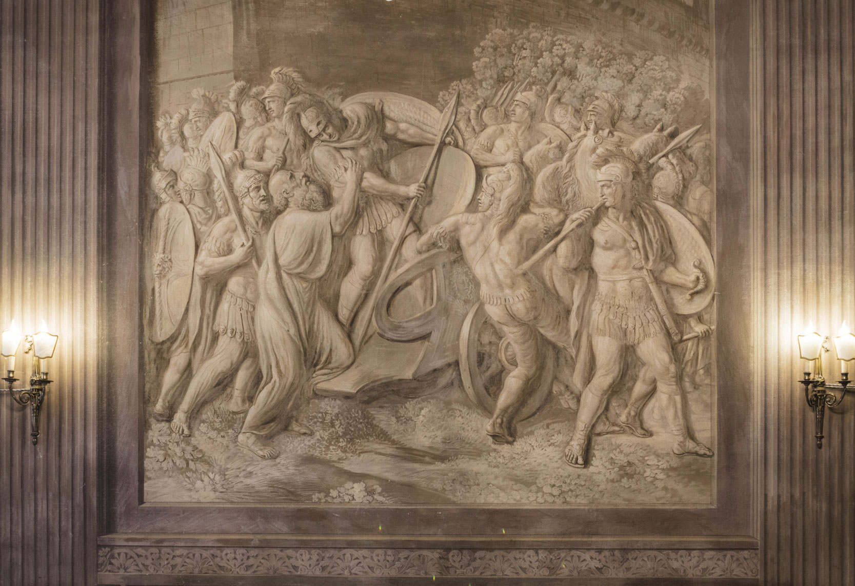 The Squires' Lounge, low relief of a scene form the Aeneid