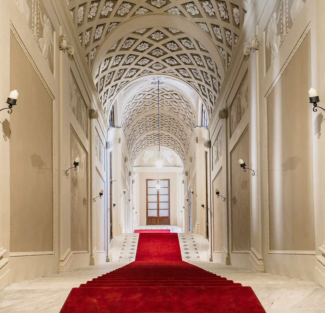 The last two flights of the Royal Staircase with a celebratory red carpet